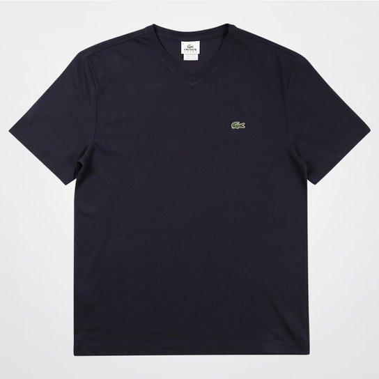Camiseta Lacoste Gola V Masculina - Marinho - Compre Agora   Netshoes 84b52778e4