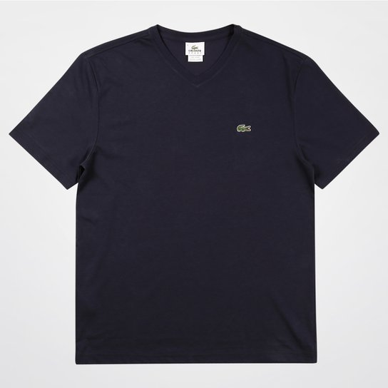 fbae52d2b2524 Camiseta Lacoste Gola V Masculina - Marinho - Compre Agora   Netshoes