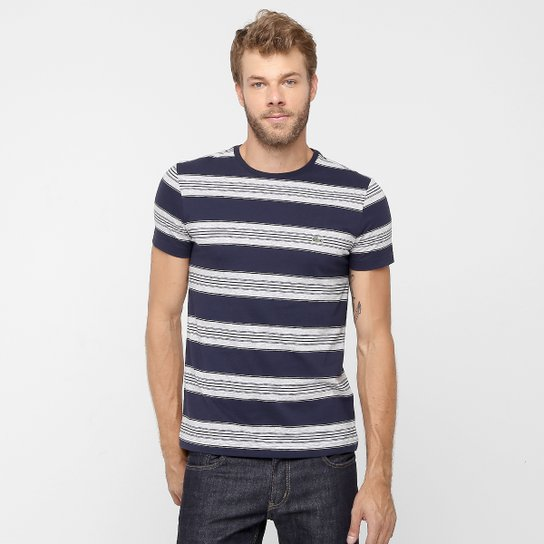 d075985354fa2 Camiseta Lacoste Listrada Gola Careca - Compre Agora   Netshoes