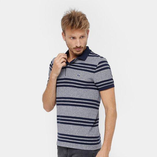 76f7b8a3f6e Camisa Polo Lacoste Piquet Caviar Regular Fit Listrada Masculina -  Cinza+Marinho