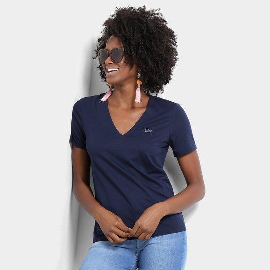 6dfcd546b6b Camiseta Lacoste Gola V Feminina - Marinho - Compre Agora