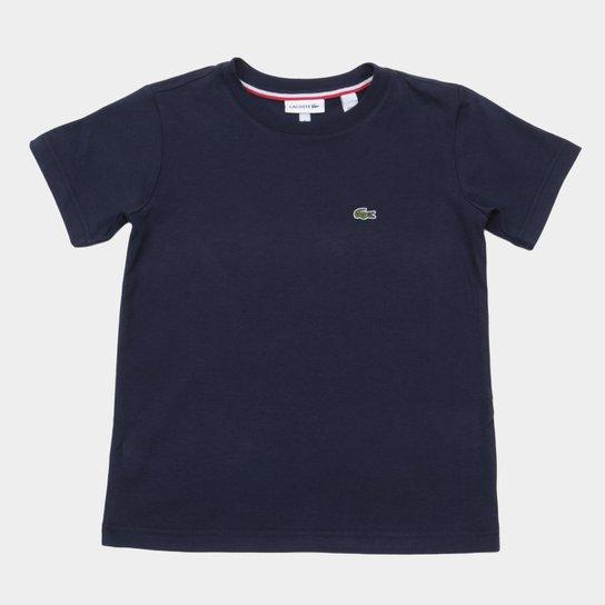 340cb1ed7afe8 Camiseta Infantil Lacoste Logo Masculina - Marinho - Compre Agora ...