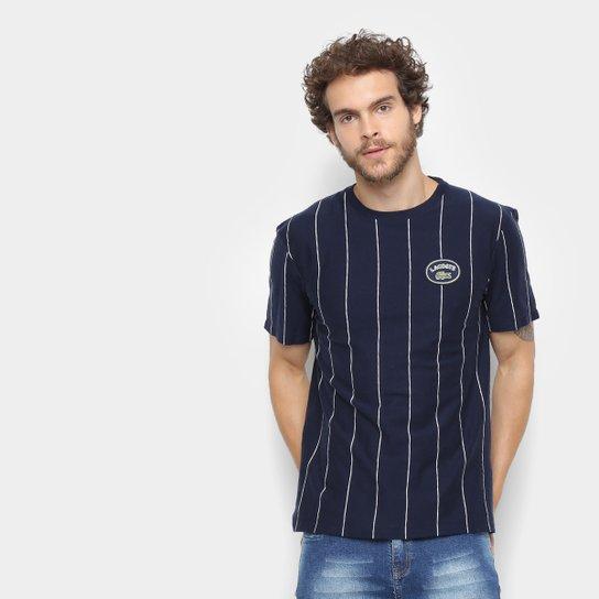 da0e02faa3169 Camiseta Lacoste Detalhe Listras Masculina - Marinho - Compre Agora ...