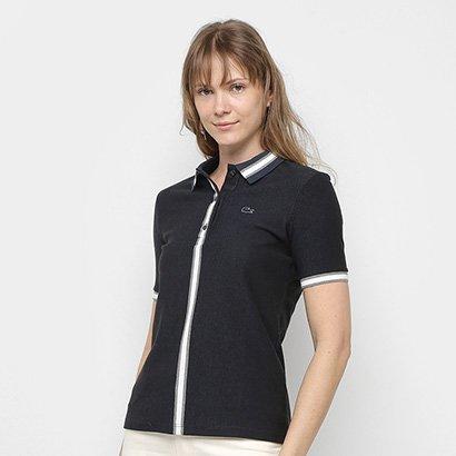 Camisa Polo Lacoste Listra Bicolor Manga Curta Feminina