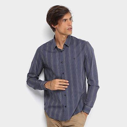 Camisa Calvin Klein Slim Fit Listras Masculina
