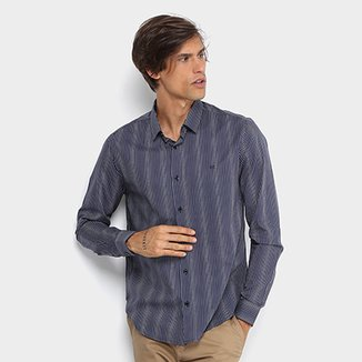 1e96d0b27 Camisa Calvin Klein Slim Fit Listras Masculina