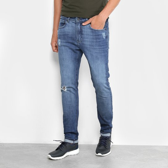 Calça Jeans Slim Calvin Klein Five Pockets Masculina - Marinho ... cb04da4bf0