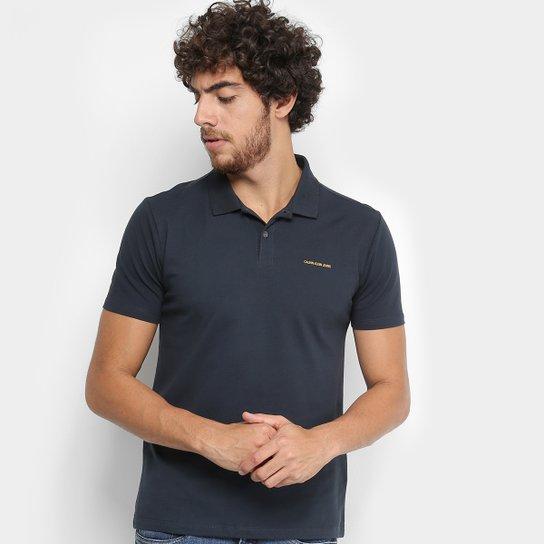 Camisa Polo Calvin Klein Piquet Básica Masculina - Marinho - Compre ... c280469159a4e