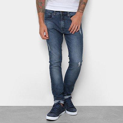 Calça Jeans Skinny Calvin Klein Estonada Cintura Média Five Pockets Masculina