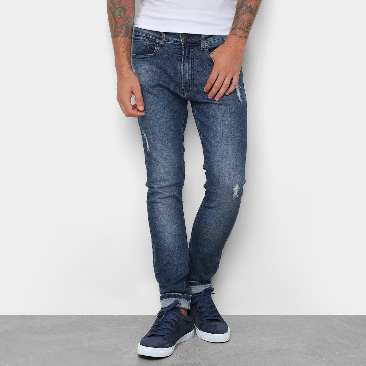 563dbdb324499e Calça Jeans Skinny Calvin Klein Estonada Cintura Média Five Pockets ...