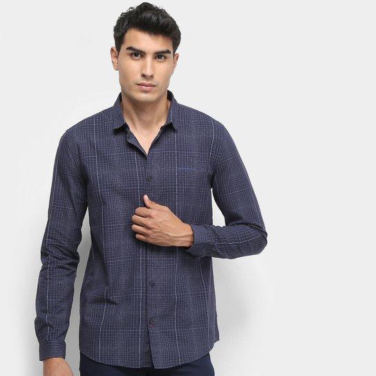 c57c69139e28f4 Camisa Xadrez Manga Longa Calvin Klein Silk Masculina - Marinho