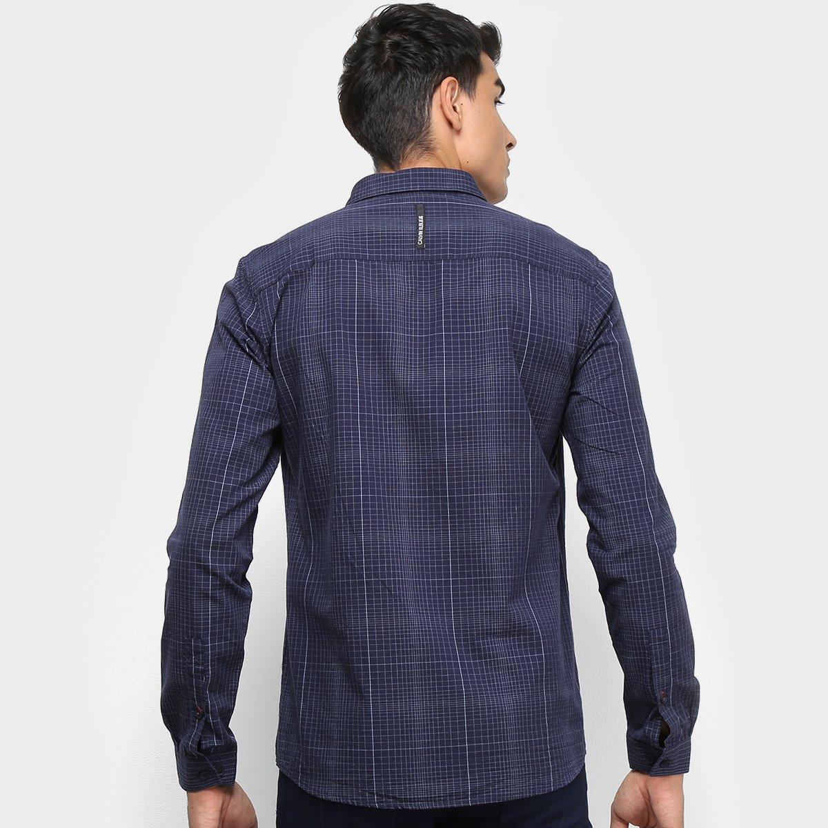 cfa15f26704eee Camisa Xadrez Manga Longa Calvin Klein Silk Masculina - Tam: G ...