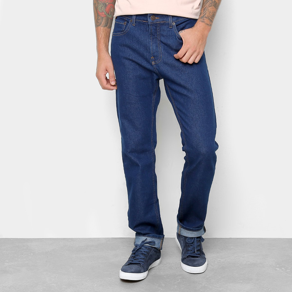 e676b7eca Calça Jeans Reta Calvin Klein Lavagem Clássica Cintura Alta Five Pock Slim Straight  Masculina