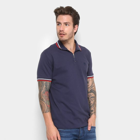 Camisa Polo Cavalera com Zíper Masculina - Marinho - Compre Agora ... 9a80a6aa503e8
