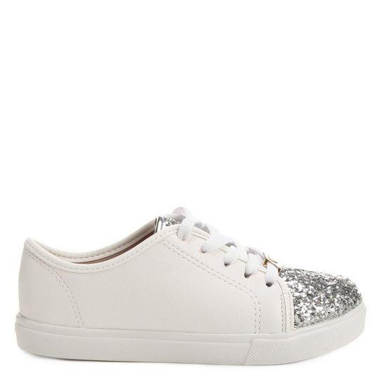 8f1d753a5d Tênis Molekinha Glitter Infantil - Branco e prata - Compre Agora ...