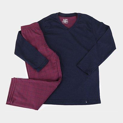 Pijama Infantil Lupo Longo KM Xadrez Masculino
