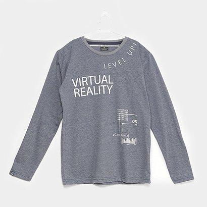 Camiseta Infantil Quimby Virtual Reality Manga Longa Masculina