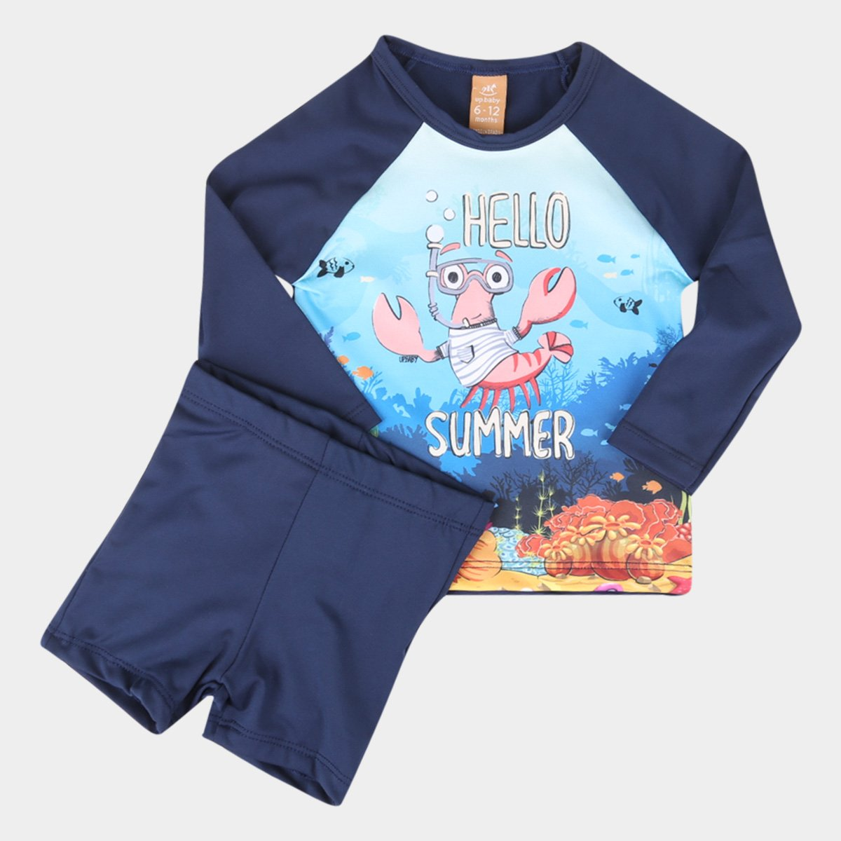 Conjunto Infantil Up Baby Manga Longa Proteção Uv Happy Summer Feminino