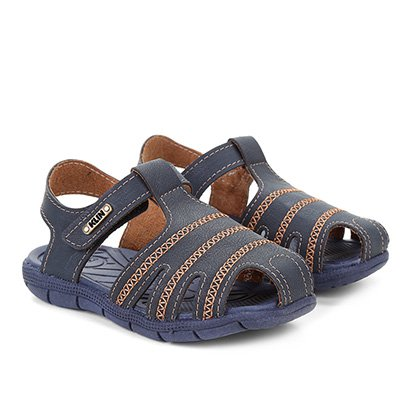 Sandália Infantil Klin Tic Tac Costuras Velcro Masculina