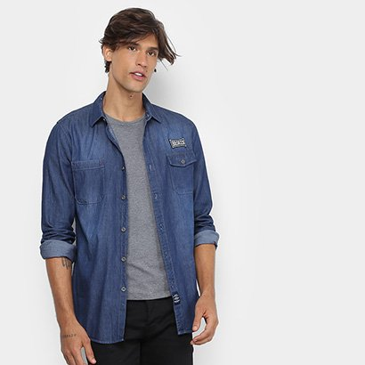 Camisa Jeans Broken Rules Clássica Stone Masculina