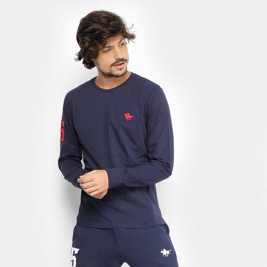 a030d9c9d5 Camiseta RG 518 Básica Manga Longa com Bordado Masculina - Marinho ...