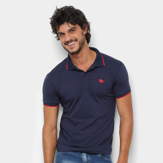 6dacb388f Camisa Polo RG 518 Friso Logo Masculina - Marinho - Compre Agora ...