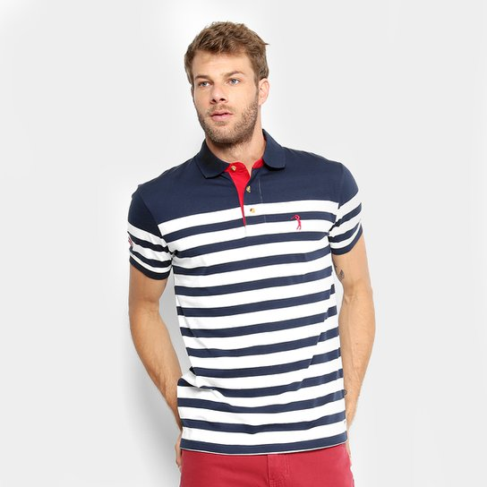 Camisa Polo Aleatory Masculina - Marinho e Branco - Compre Agora ... d512aac3bdf3f