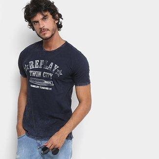 Camiseta Replay Twin City Manga Curta Masculina 0ca0d5479442a