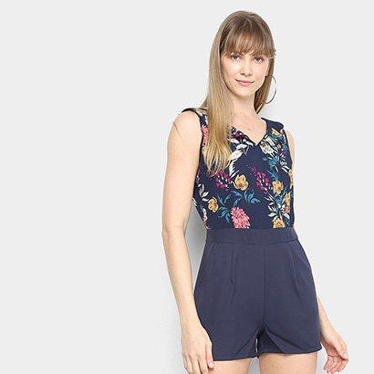 Macaquinho Lily Fashion Estampado Decote Costas Feminino