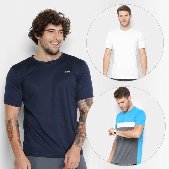 Kit Camiseta Avia Bummer + Camiseta Gonew Blocada + Camiseta Gonew Recorte  Masculina - Marinho f71d6b8001f51