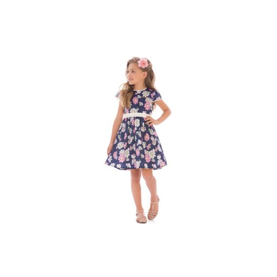 71ad6d20cc Vestido Infantil Hello Kitty Com Estampa Floral - Compre Agora ...