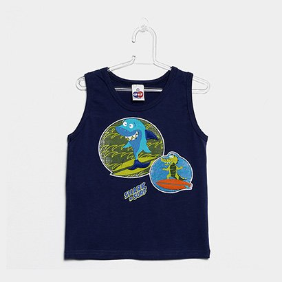 Camiseta Regata Infantil Tip Top Shark Masculina