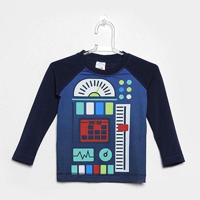 Camiseta Infantil Tip Top Moda Praia Robot Manga Longa Masculina