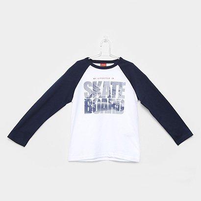 Camiseta Manga Longa Infantil Kyly Skate Masculina