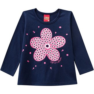 ad7f3f0e5eb98 Conjunto de blusa Manga Longa + Calça Infantil Kyly Floral Feminina
