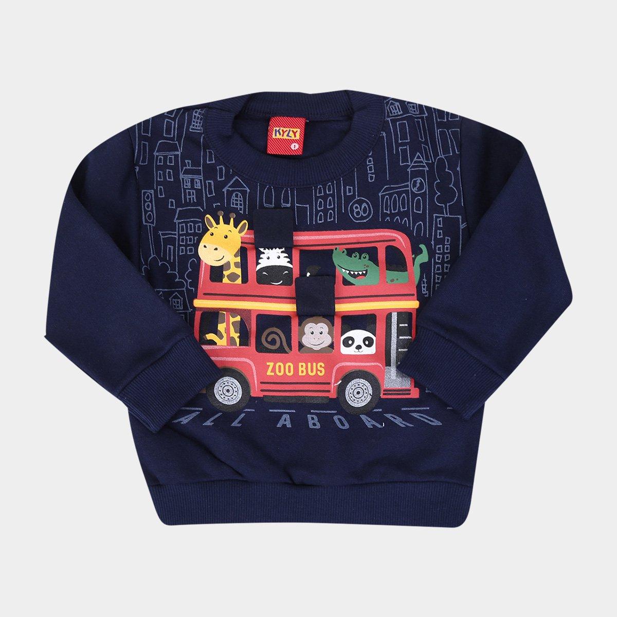 Conjunto Infantil Moletom Kyly Zoo Bus Masculino