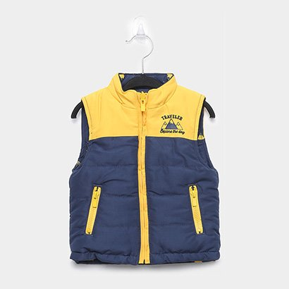 Colete Infantil Puffer Kyly Dupla Face Masculino