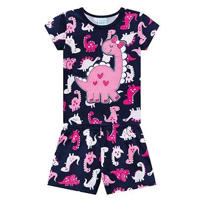Pijama Infantil Kyly Curto Dinossaura Brilha No Escuro Feminino