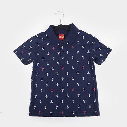 Camisa Polo Infantil Kyly Malha Estampada Masculina
