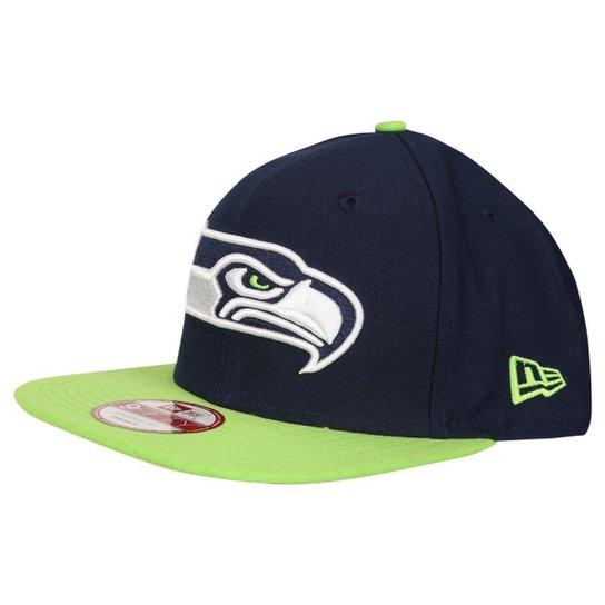 54046aeac Boné New Era 950 NFL Of Sn Classic Team Seattle Seahawks - Marinho+Verde  Limão