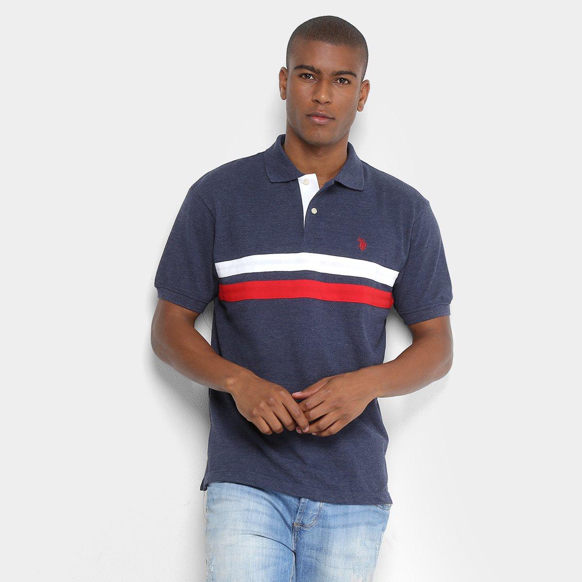 ... Camisa Polo U.S.Polo Assn Mescla Listras Masculina 3ba4c2893cded