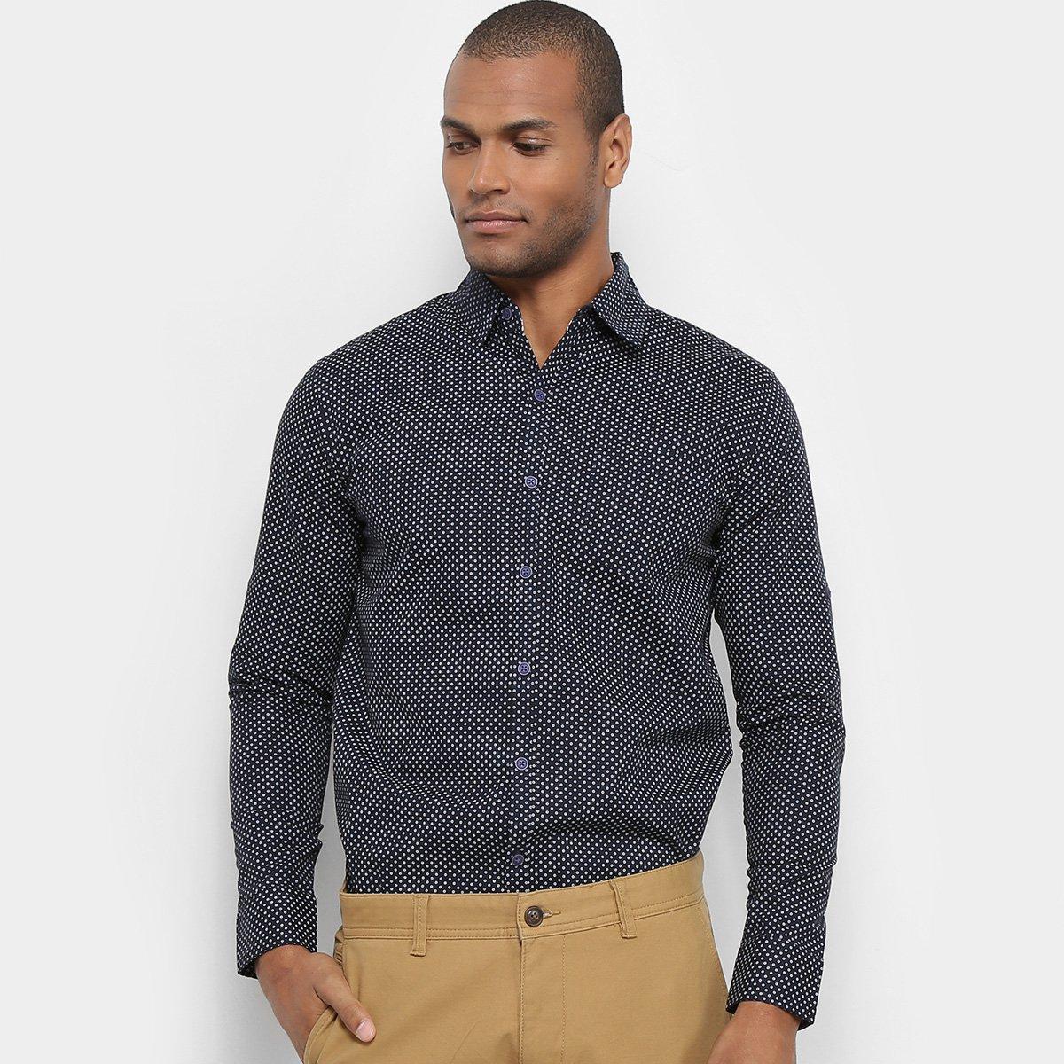 Camisa Manga Longa JAB Casual Estampada Mini Print Masculina