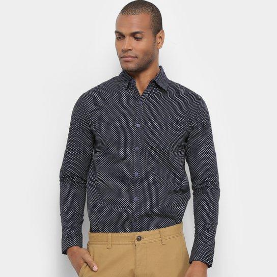 6ed0ea4a185cc Camisa Manga Longa JAB Casual Estampada Mini Print Masculina - Marinho