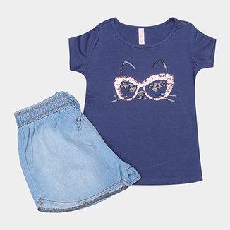4eb9106a6c Conjunto de Blusa e Short Jeans Infantil Cativa Feminino