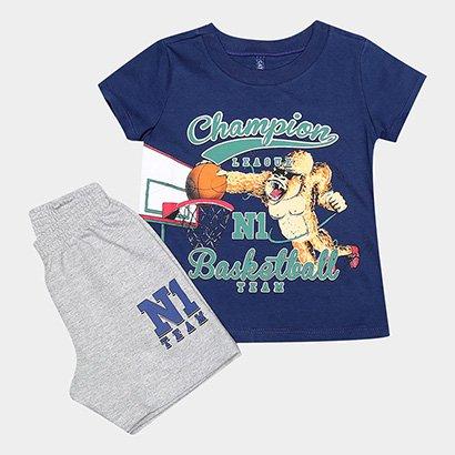 Conjunto Infantil Cativa Camiseta e Bermuda Masculino