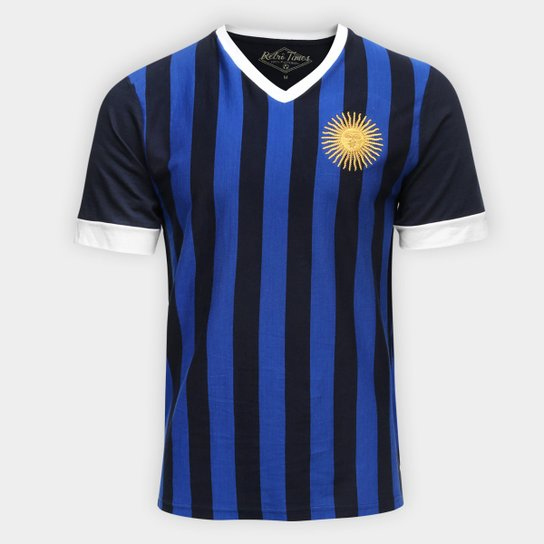 b3928647e Camiseta Argentina 1986 Retro Times Masculina - Marinho - Compre ...