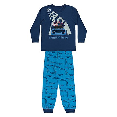 Pijama Bebê Longo Boca Grande Estampa Carro  Masculino
