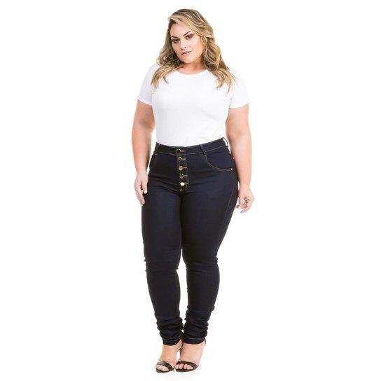 968e3160b Calça Confidencial Extra Plus Size Jeans Hot Pants com Botões Feminina -  Marinho
