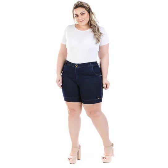 f46a5d6e7 Shorts Feminino Jeans Athos com Elastano Plus Size - Marinho | Netshoes