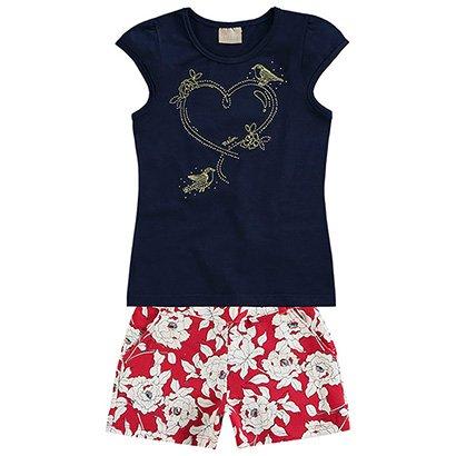 Conjunto Infantil Milon Floral e Apliques Feminino